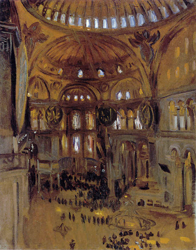 Sketch of Hagia Sophia, by John Singer Sargent, 1891. Unlike the above painting, which shows a church still and silent bursting with brilliant light, this sketch shows the bustle of mid-day, the sunbeams and the people as though dancing together on a ballroom floor.