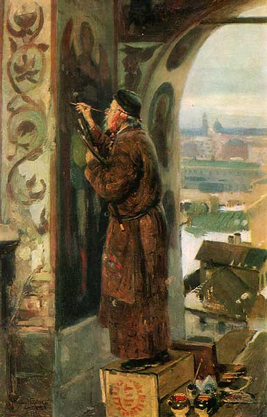 A fascinating painting of an iconographer at work, by Valdimir Makovsky, 1891.