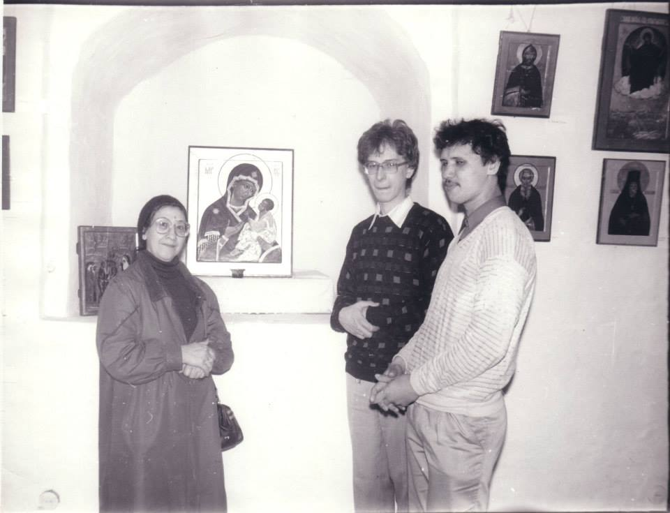 "Ksenia Pokrovsky and son Dmitriy (center) at the 1989 exhibition of the ""Modern Icon"" organized in the Znamensky Cathedral in Moscow. It was the first exhibition of contemporary church art held during the entire Soviet period. Prior to this exhibit, icons had only been exhibited as museum pieces and always as something from a period previous to 1917."