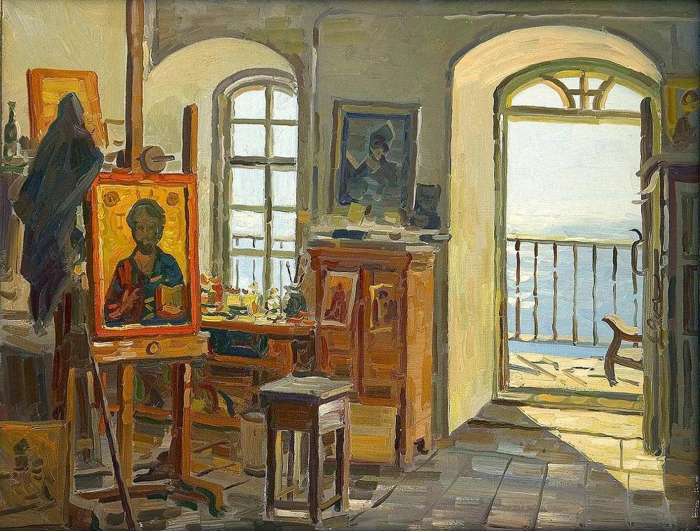 A contemporary painting of iconographer's studio on Mount Athos. By Aleksei Evstigeniev, 1997.