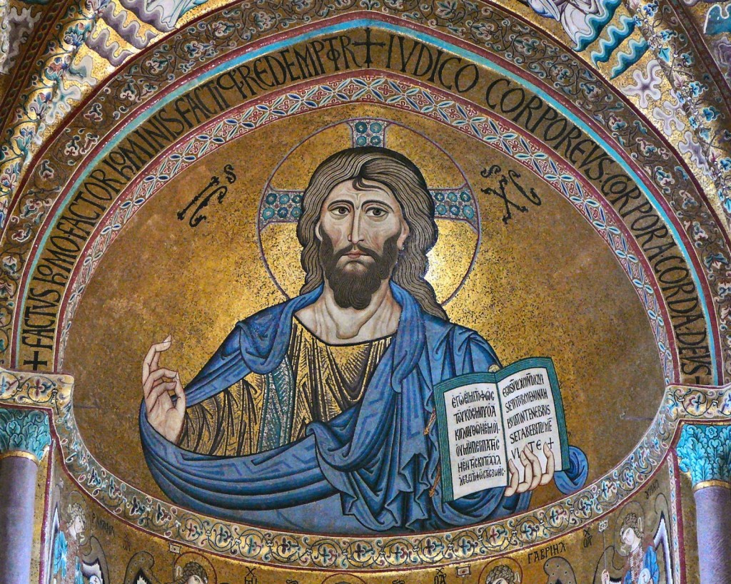 Mosaic of Christ Pantocrator in Monreal Cathedral, Sicily. The mosaic was made by Greek artisans working for the Norman king of Sicily in the 1180s.