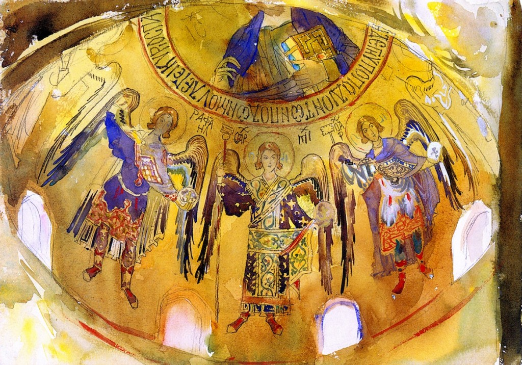 Dome mosaics in the Palatine Chapel, Sicily, by John Singer Sargent, 1897. A spectacular rendition of the richness of gold mosaic rendered in watercolor.