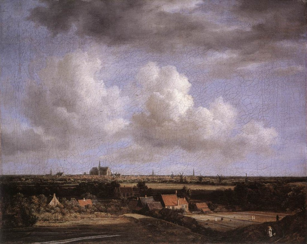 Landscape by Ruisdael described in the talk as showing God's glory in creation.