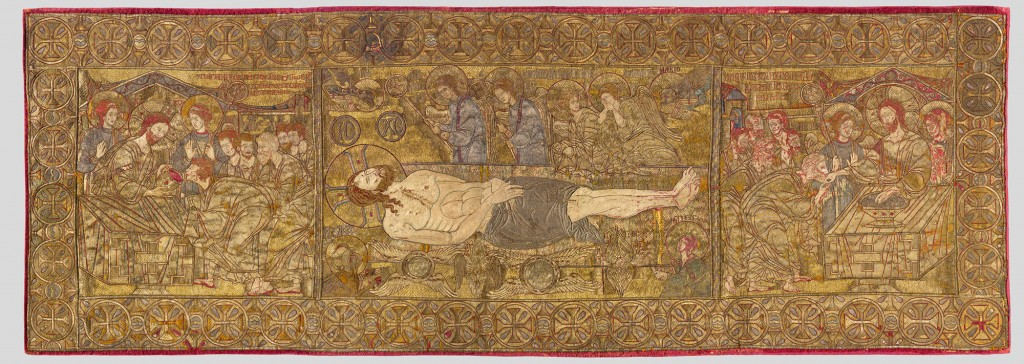Epitaphios, c. 1300 silk, gold, and silver wire on linen overall: 72 x 200 cm (27 9/16 x 78 3/4 in.) Musem of Byzantine Culture, Thessaloniki