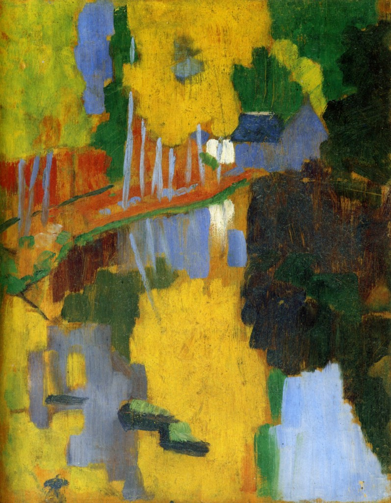 Paul Sérusier, The Talisman/Le Talisman, 1888. Oil on wood. Caption: This painting is generally considered to be a major landmark paveing the way towards pure abstraction. In this work, painted under the supervision of Paul Gauguin, we find a raw example of the implementation of Maurice Denis' pictorial theories. Serusier was a member of the symbolist group Les Nabis, along  with Denis, Pierre Bonnard and Eduard Vuillard.