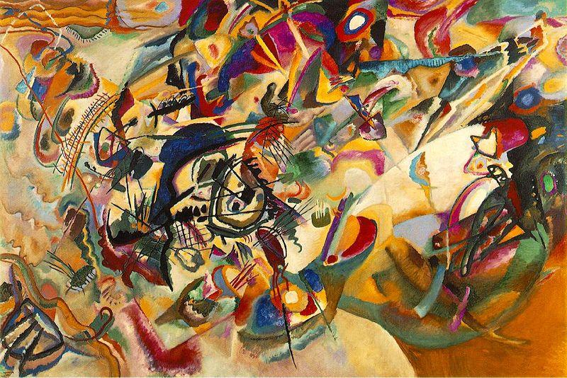 Wassily Kandinsky, Composition VII, 1913. Oil on Canvas. Caption: Kandinsky is considered by some to have painted the first purely abstract works.