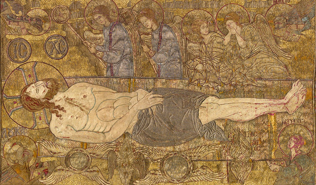 Detail of Epitaphios, c. 1300 silk, gold, and silver wire on linen overall: 72 x 200 cm (27 9/16 x 78 3/4 in.) Musem of Byzantine Culture, Thessaloniki