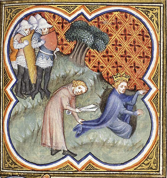 David cuts Saul's garment in the cave, from a late Medieval manuscript
