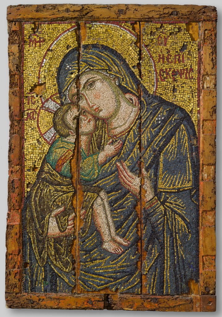 Mosaic icon of the Virgin Episkepsis, late 13th century glass, gold, and silver tesserae overall: 107 x 73.5 cm (42 1/8 x 28 15/16 in.) Byzantine and Christian Museum, Athens