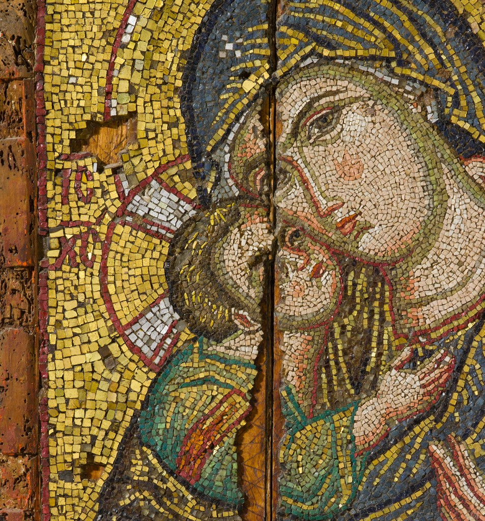 Detail of Mosaic icon of the Virgin Episkepsis, late 13th century glass, gold, and silver tesserae overall: 107 x 73.5 cm (42 1/8 x 28 15/16 in.) Byzantine and Christian Museum, Athens