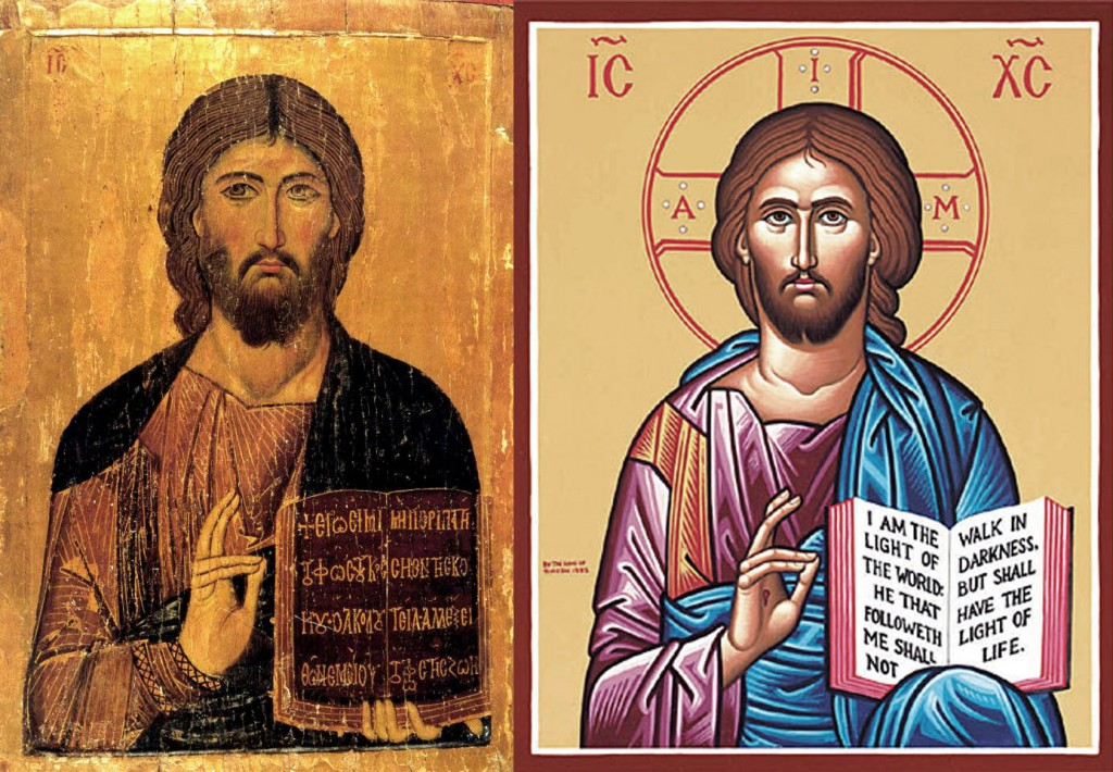 A Byzantine Christ Pantocrator juxtaposed with an example in the simplistic opaque style frequently practiced nowadays. Can anyone really not see the difference here? One is a portrait that breathes the very life and soul of Christ himself, as though He were standing before us in the flesh. The other is nothing more than a hieratic symbol of Christ, as cold and lifeless as a plastic figurine. But at least the colors and inscriptions are iconologically correct - that's what really matters!