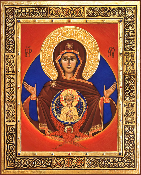 Miniature icon of the Most Holy Theotokos of the Sign, 2012-13 by Christabel Anderson, demonstrating the use of various types of manuscript gilding on vellum with 24 carat gold leaf and the use of 'shell' gold paint with hand made watercolors, rubies, sapphires and pearls