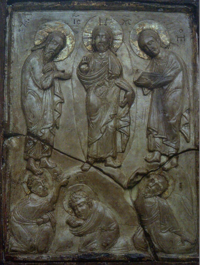 Icon of the Transfiguration of Our Lord, second half of the 13th century, demonstrating the use of pale green steatite with traces of gold, Holy Monastery of Xenophon, Mount Athos