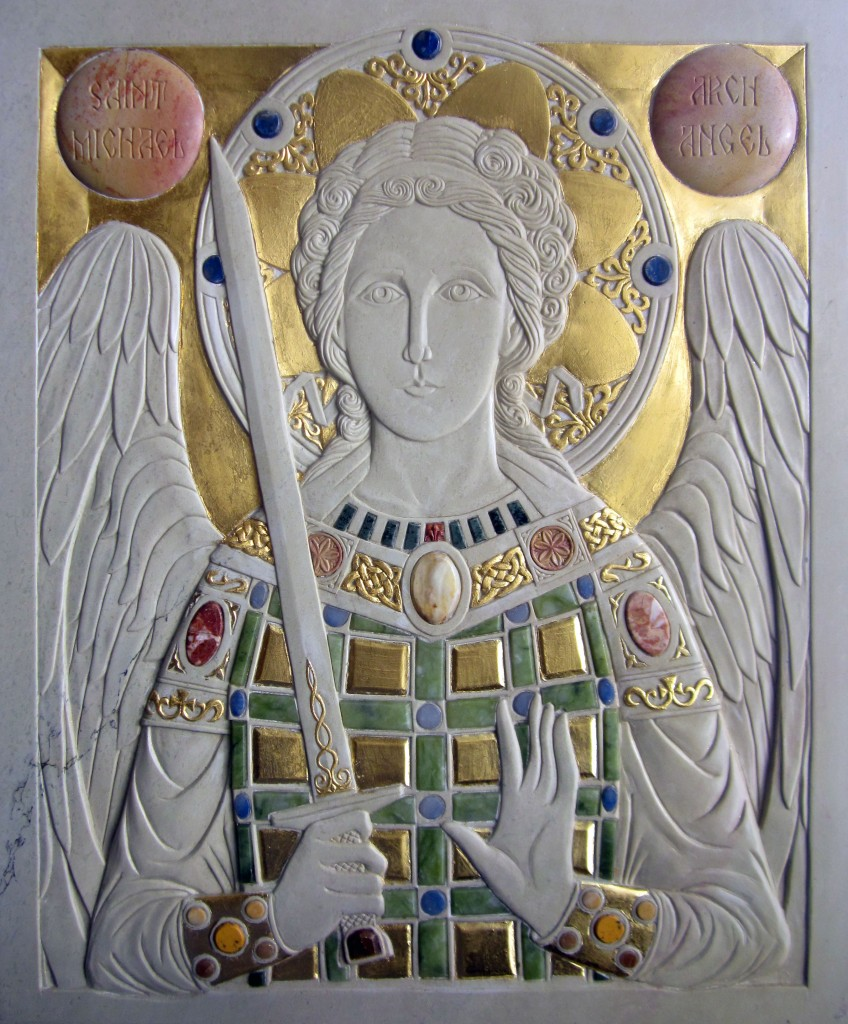 Final icon of St-Michael.  Gilded steatite with stone inserts.