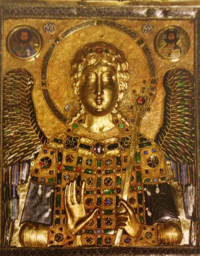 gold icon of st-Michael with enamel and precious stones.  St-Mark's Cathedral, Venice.