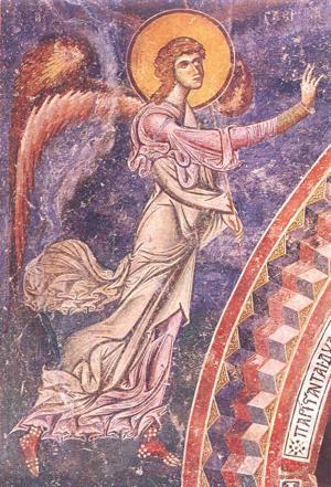"""Archangel Gabriel from the scene of the Annunciation. Sr George church, Kurbinovo, 1191 AD. This fresco is a good example of the the two pictorial approaches seen above, the Greco-Roman naturalism and Romanesque abstraction. This style, in its exuberant rhythm, can be referred to as """"mannerist,"""" and this is not to be taken as a negative epithet."""