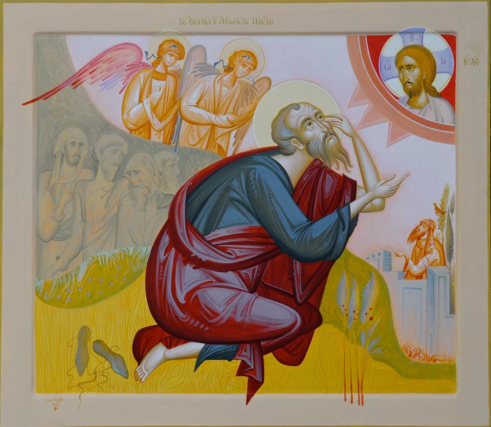 "St. Paul's Vision on the Road to Damascus, by George Kordis. Contemporary icon. In this icon can be seen the confluence of traditional pictorial forms, along with the revalorization of 20th century painting.  That is, we see some aspects of the Byzantine style and Romanesque ""mannerism,"" along with the use of flat and broad fields of color reminiscent of Van Gogh and 20th century abstraction. All of this tends to have a sense of ""expressionist"" vigor, wish clearly conveys the sense of dynamic and transformative encounter of the sacred event."