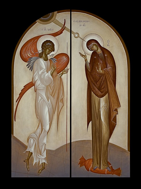 """Annunciation, by George Kordis. Contemporary icon. Here we see an icon which at first glance might appear to be """"untraditional,"""" but, in fact, is in accord with the """"mannerist"""" example we've shown above."""
