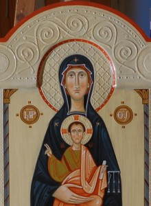Icon of the Mother of God Enthroned with Christ Child. Detail.
