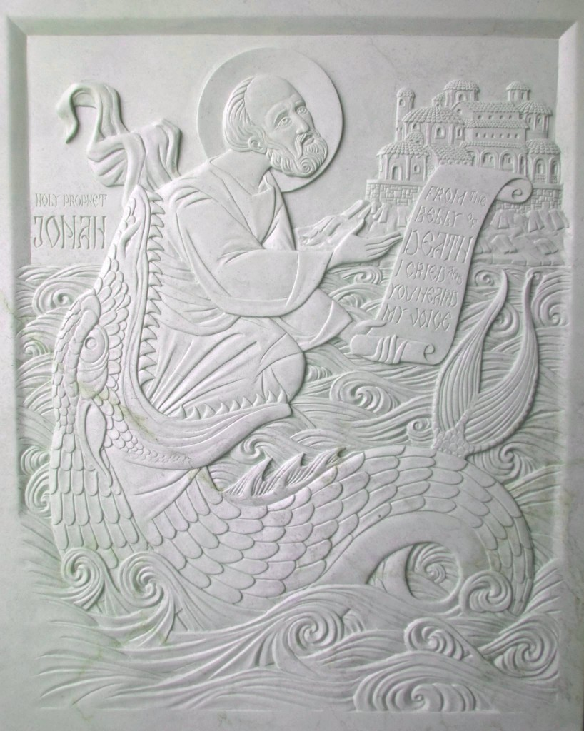 Icon of The Holy Prophet Jonah carved in Steatite by Jonathan Pageau