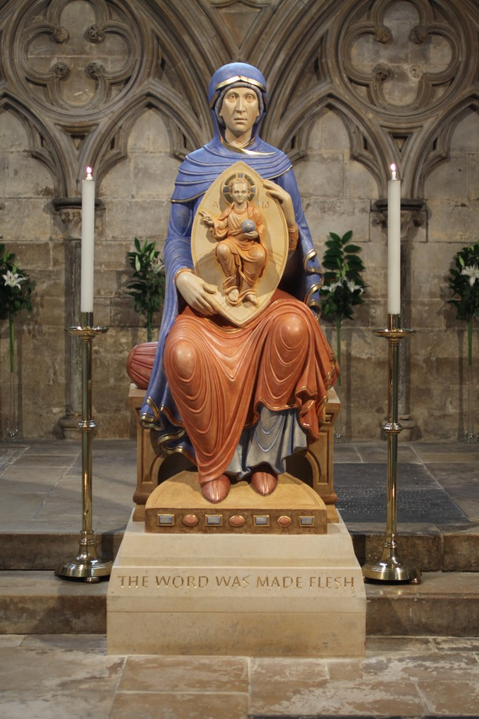 "Our Lady of Lincoln, Lincoln Cathedral, England. Completed May 2014. Carved from a single block of Great Ponton limestone. Total height, about 2.3 metres (7'-6""). Polychromed with egg tempera and casein, using azurite and ochre pigments, and gilded with 23 1/2 carat gold leaf."