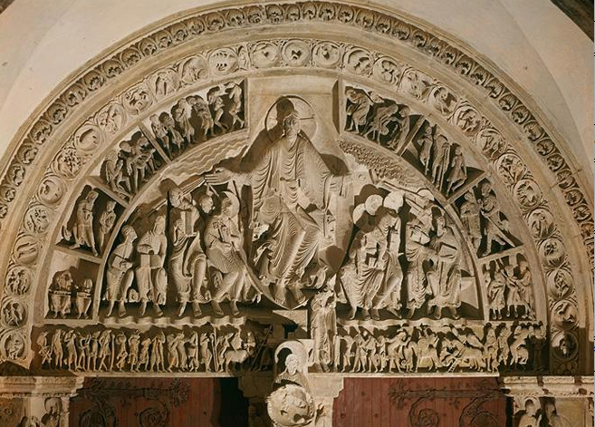 The tympanum at Vézelay Abbey, France (1130), showing characteristic Romanesque 'wet-fold' drapery.