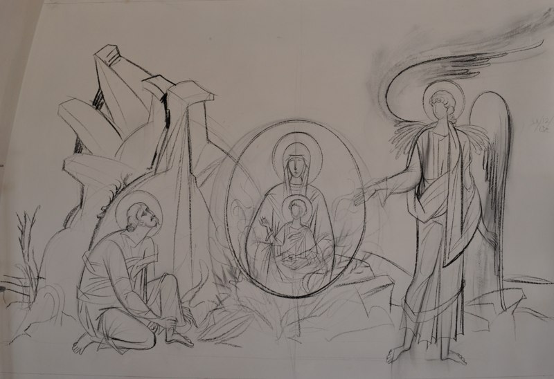George Kordis, Moses Encountering the Burning Bush. Preparatory drawing on a wall of the Fanerwmeni Church, Greece.