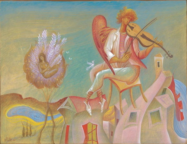 "George Kordis, Fiddler, 2007. From a series of paintings based on the poem by Seferis, ""Thrush."""