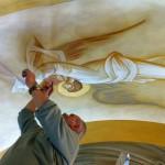 George Kordis painting the Fanerwmeni Church, Vouliagmeni, Greece.