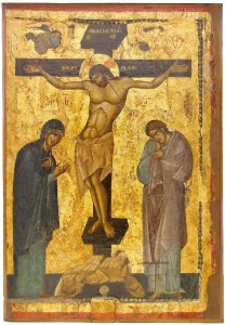 Thirteenth century processional icon of the Crucifixion (reverse side, the Mother of God Hodigitria), Church of the Mother of God Peribleptos (St.Clement, Ohrid).