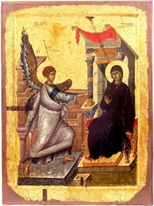 Processional icon of the Annunciation, early 14th century (reverse, the Mother of God Psychosostria) from the Church of the Mother of God Peribleptos, St. Clement, Ohrid.