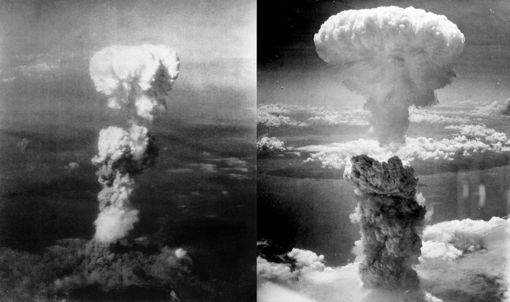 The two atomic mushrooms of Hiroshima and Nagasaki. Modern technology unveiled.