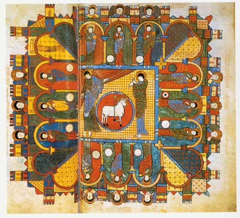 The Heavenly Jerusalem, from the Apocalypse of Saint-Sever, 11th century.