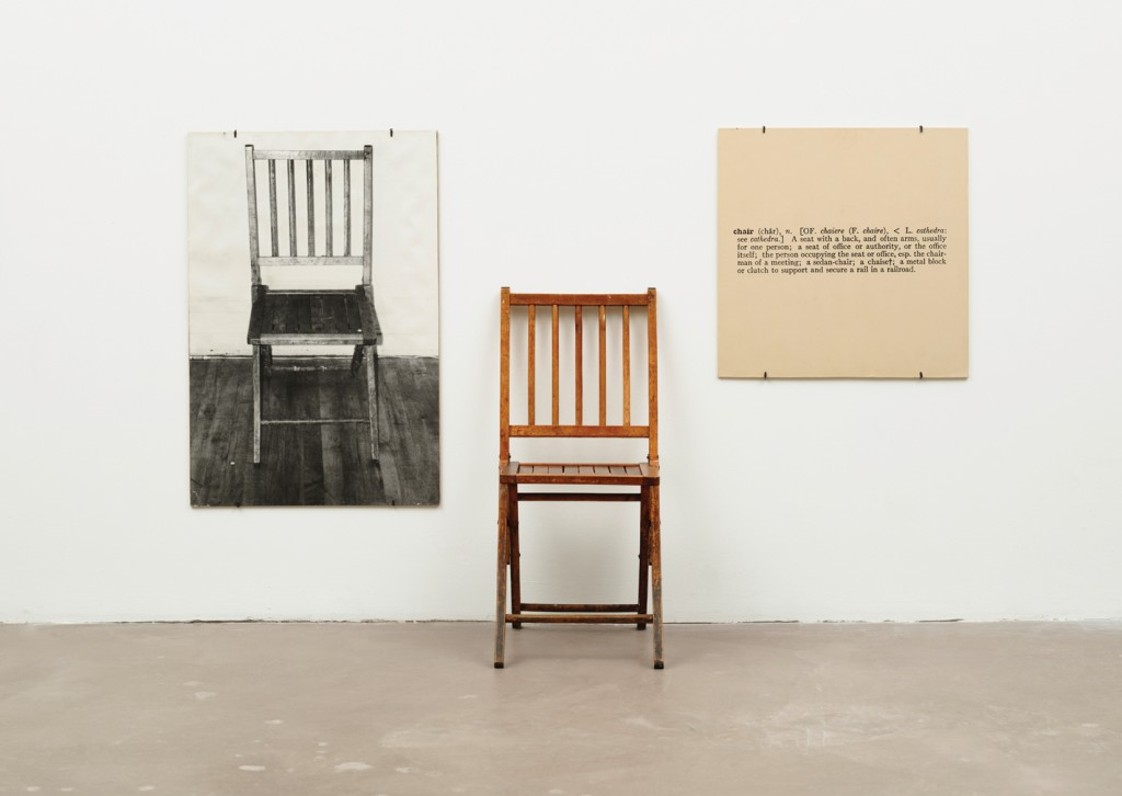 """Joseph Kosuth, One and Three Chairs, 1965. Comment: Kosuth would develop further the ideas of Duchamp and become one of the leading representatives of Conceptualism by the late 60s and 70s. In this work we see him taking the idea of the """"readymade"""" in another direction, treating it as a philosophical inquiry into ontology, semantics and the nature of representation."""