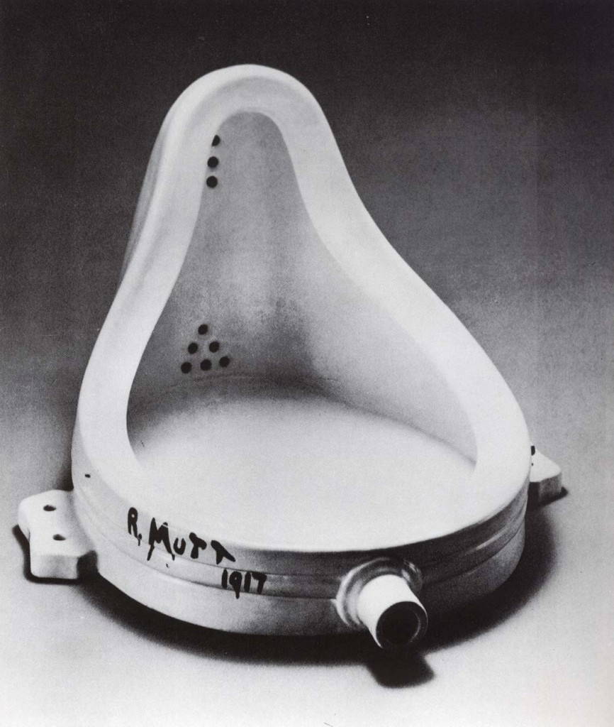 """Fountain, Marcel Duchamp, 1917. This urinal, signed under the pseudonym R.Mutt, was submitted to an open exhibition but rejected, without a doubt to Duchamp's delight. It has ever since become one of the most famous, and to some infamous, of Duchamp's """"Readymades."""" It would come to play a major role in the development of Conceptualism. In a short essay , published in The Blind Man, NY, 1917, Duchamp says , """" Whether Mr. Mutt with his own hands made the fountain or not has no importance. He CHOSE it. He took an ordinary article of life, placed it so that its useful significance disappeared under a new title and point of view-created a new thought for that object."""""""