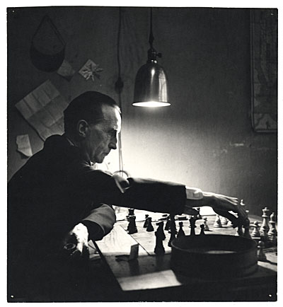 Marcel Duchamp playing chess in 1952. Photo by Kay Bell Reynal, in the Smithsonian Institution Archives of American Art