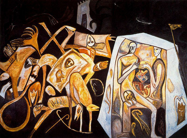 Mimmo Paladino, Ronda Notturna, 1982. Oil on canvas, 300 x 400 cm. Comment: Paladino is one of the Transavarguardia painters of the 80s, an Italian movement that also resisted Conceptualism and paralleled the Neo-Expressionism of the US and Germany. In his work he combines figuration, abstraction, personal symbolism, mythology and primitivism in an attempt to suggest mystery and revive the emotive power of painting.