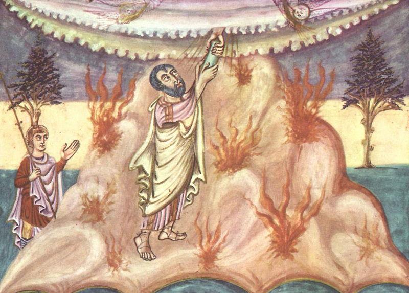 Moses Receives the Law, Carolingian book illuminator, circa 840