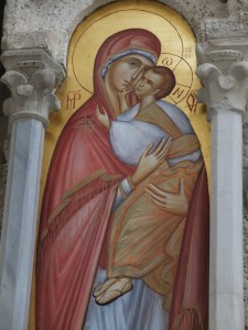 Theotokos on the iconostasis at Gradac