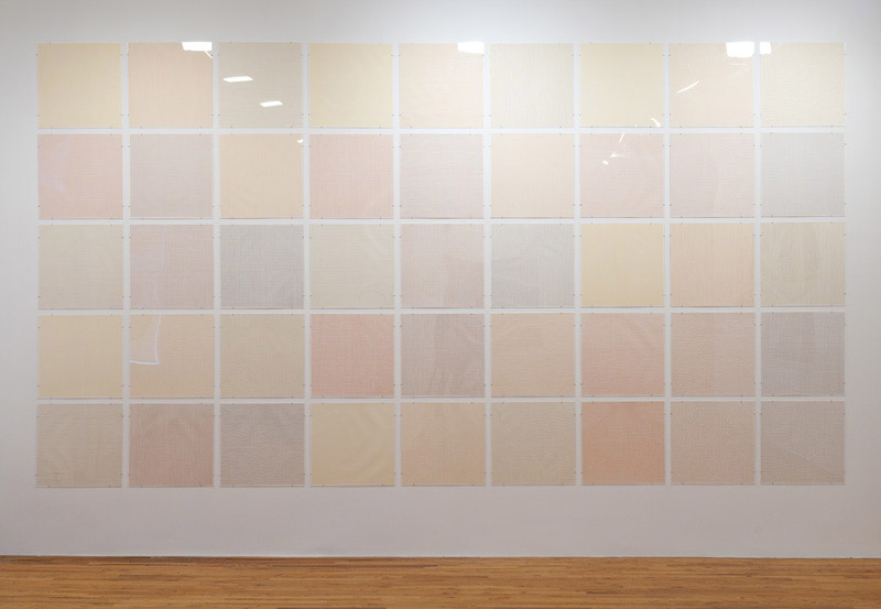 """Sol Le Witt, Color Grids, 1975. Suite of 45 color etchings, 20 x 20 in. / 50.8 x 50.8 cm. each. Edition of 10. In Le Witt we find the convergence of Conceptualism and Minimalism. The utter simplicity of his work betrays an attempt to """"ameliorate matter."""" In his essay """"Paragraphs on Conceptualism,"""" published by Artforum in 1967, he notes, """"Anything that calls attention to and interests the viewer in...physicality is a deterrent to our understanding of the idea...The conceptual artist would want to ameliorate this emphasis on materiality as much as possible or to use it in a paradoxical way (to convert it into an idea)."""""""