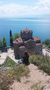 Leigh Alexandra overlooking St. George Church on Lake Ohrid