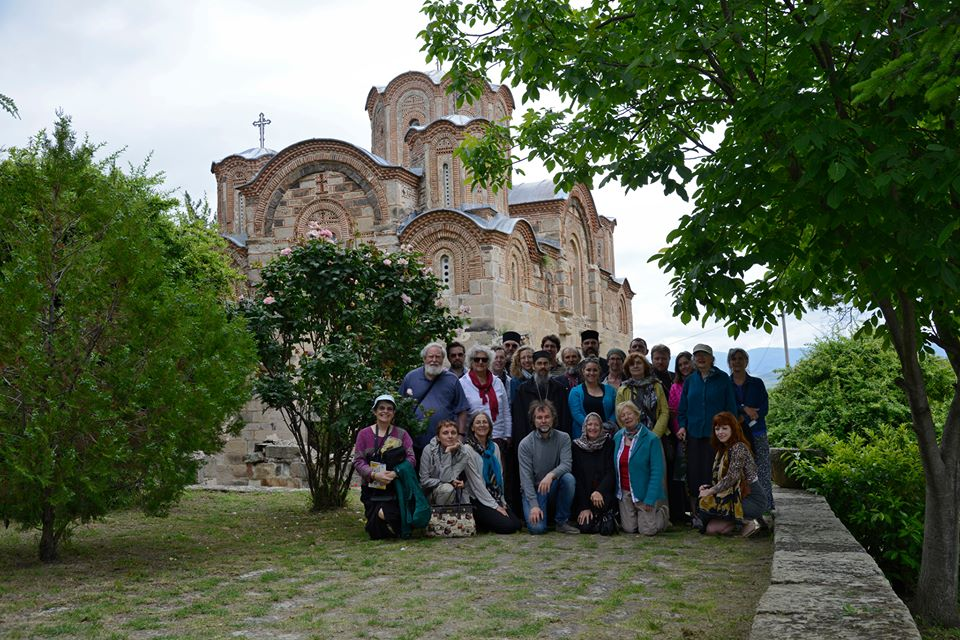 Our pilgrims at the Church of St. George (Old Nagorichane) Ochrid, Macedonia