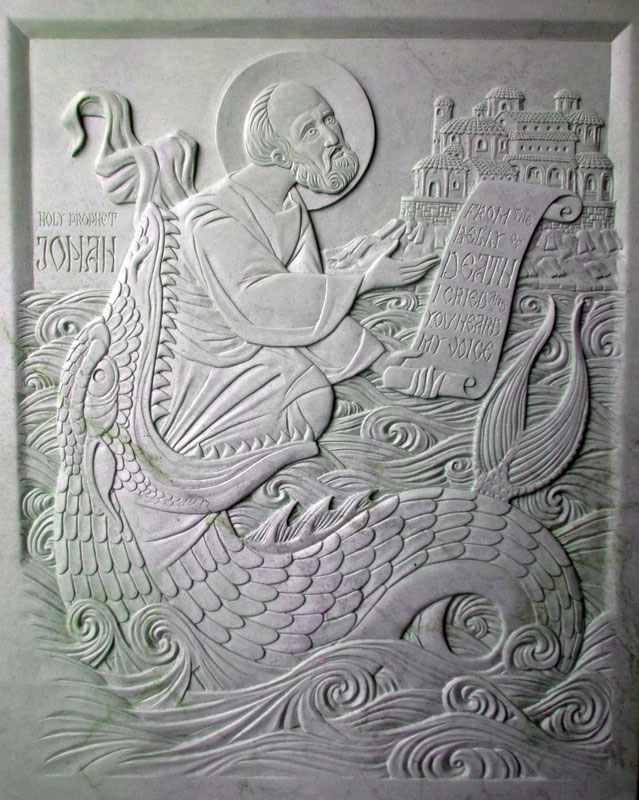 Carved Steatite icon of the Holy Prophet Jonah.
