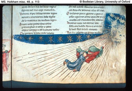 Dante and Beatrice ascend towards the sun. 14th century Italian manuscript.