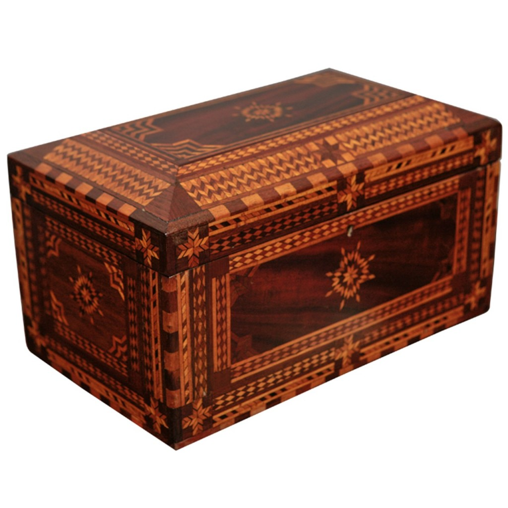 A 19th-century American inlaid jewelry box