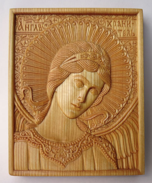 Guardian Angel. 10.7 x 13.3. 1.5 cm; linden wood, natural linen oil varnish, 2001.