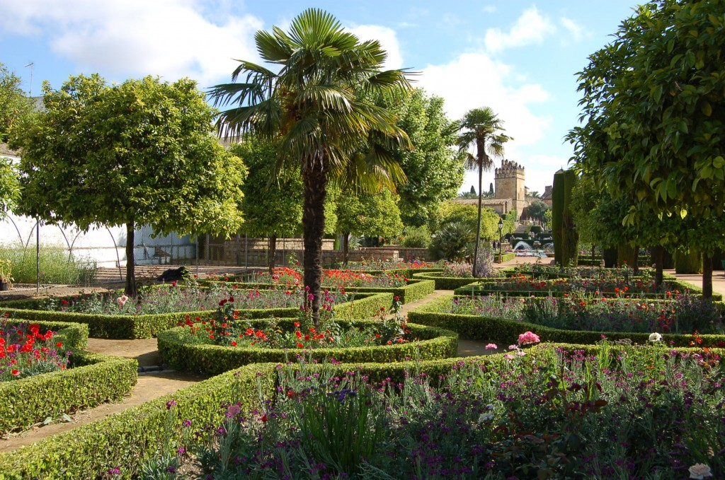 A Western European garden which recalls the cross-in-square archetype of paradise. Alcazar Palace, Cordoba, Spain