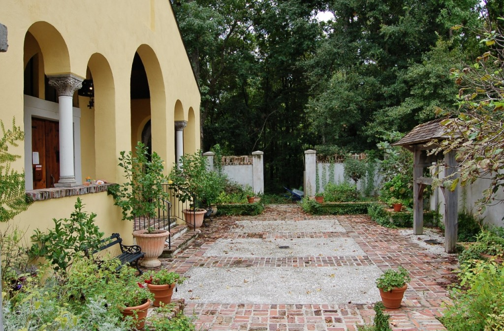 Forecourt garden at Holy Ascension Orthodox Church, Charleston, SC - designed by the author.
