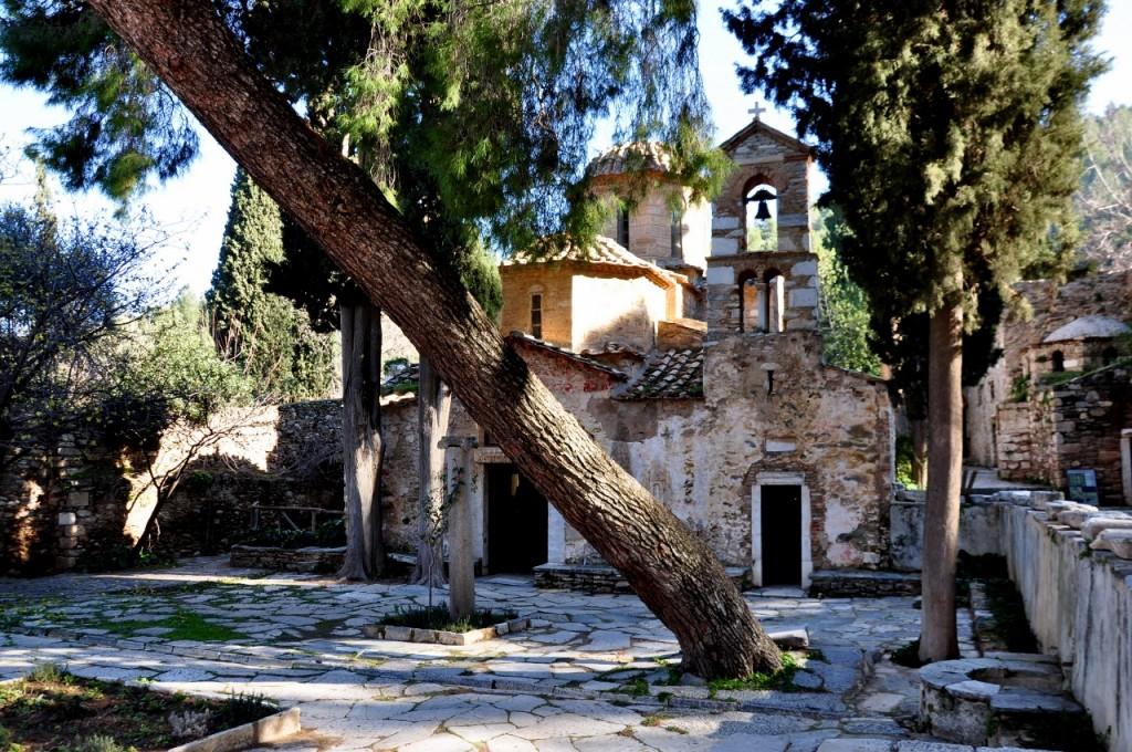 Ancient Byzantine courtyard garden at Kaisariani Monastery, Greece