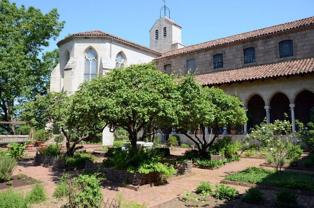 A garden in the style of the medieval west, The Cloisters, NY. These geometrical courtyard gardens are an excellent model for Orthodox churchyards.
